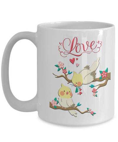 Image of Lovebirds Mug Gift Love You Surprise Her on Valentine's Day Birthday Novelty Cup
