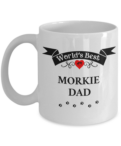 Image of World's Best Morkie Dad Cup Unique Dog Ceramic Coffee Mug Gifts for Men