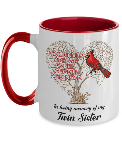 Twin Sister Cardinal Memorial Coffee Mug Angels Appear Keepsake Two-Tone Cup