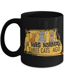 "Funny Cat Lover Gift I Was Normal 3 Cats Ago"" Fun Coffee Mug Crazy Cat Lady"