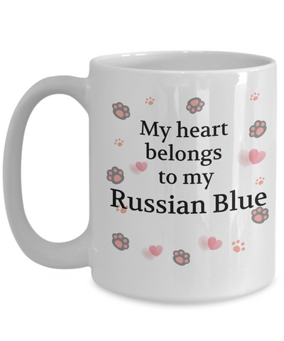 Image of My Heart Belongs to My Russian Blue Mug Cat Unique Novelty Coffee Cup Gifts