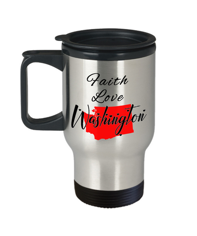 Image of Patriotic USA Gift Travel Mug With Lid Faith Love Washington Unique Novelty Birthday Christmas Ceramic Coffee Tea Cup