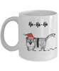 "Funny Cat Mug Gift for Cat Lovers, ""Ho Ho Ho"" Fun Coffee Mug Christmas Cat"
