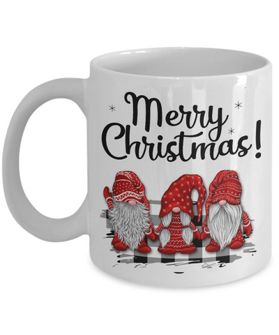 Merry Christmas Gnome Mug Gift Cute Holiday Trio of Gnomes Novelty Surprise Coffee Cup