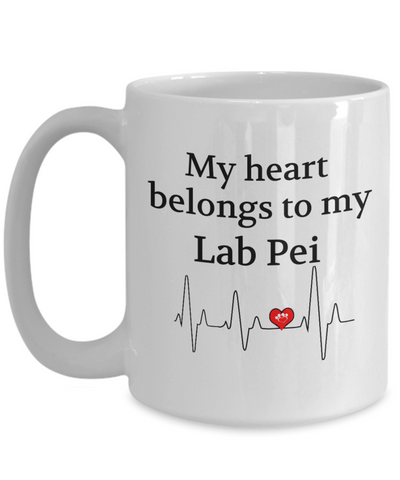 Image of My Heart Belongs to My Lab Pei Mug Dog Lover Novelty Birthday Gifts Unique Work Ceramic Coffee Gifts for Men Women