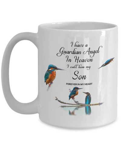 Image of In Memory of Child Kingfisher Bird Gift Mug I Have a Guardian Angel in Heaven I Call Him My Son Forever in My Heart for Memory Ceramic Coffee Cup