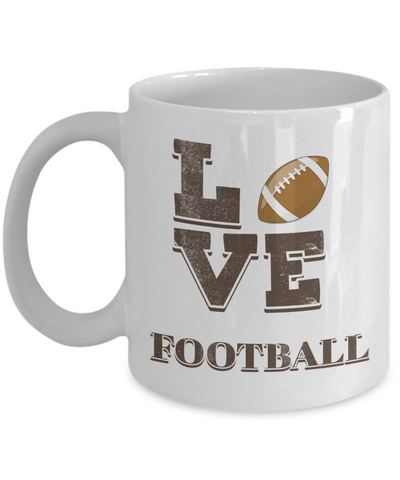 "Image of Gift for Football Fan, "" Love Football"" Coffee Mug for American Football Lovers"