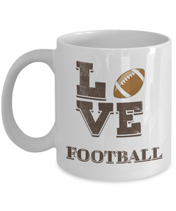 "Gift for Football Fan, "" Love Football"" Coffee Mug for American Football Lovers"