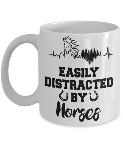 Image of Easily Distracted By Horses Mug Gift Equine Lover Novelty Coffee Cup