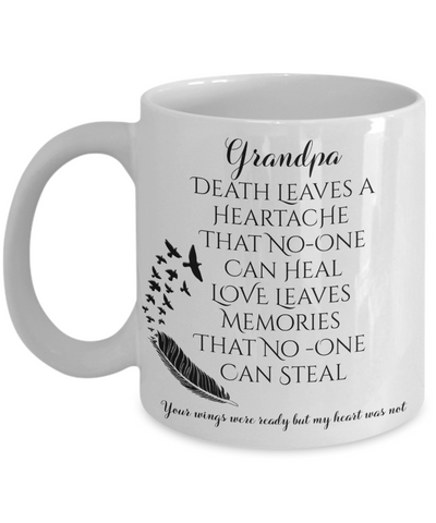 Grandpa In Loving Memory Memorial Mug Gift Death Leaves a Heartache Love Memories Your Wings Were Ready