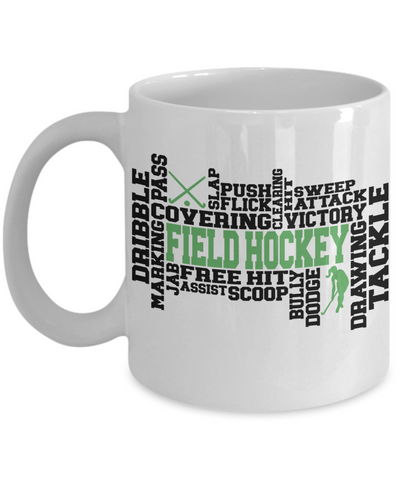 Field Hockey Word Art Mug Gift for Women Tackle Dribble Scoop Dodge Team Appreciation Novelty Birthday Ceramic Coffee Cup