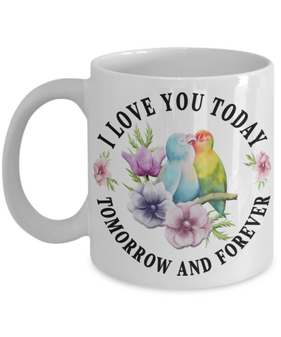 Image of I Love You Lovebird Mug Gift Novelty Birthday Christmas Valentine's Day Coffee Cup