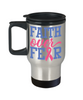 Faith Over Fear Breast Cancer Awareness Travel Mug With Lid Hope Courage Strength Support Gift Coffee Cup