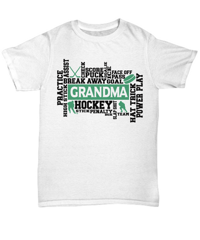 Hockey Grandma Word Art T-Shirt Gift For Women Score Goal Puck Face Off Team Appreciation Novelty Birthday Shirt