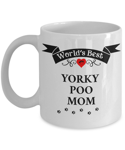 Image of World's Best Yorkie Poo Mom Cup Unique Yorkshire Terrier/Poodle Ceramic Dog Coffee Mug Gifts for Women