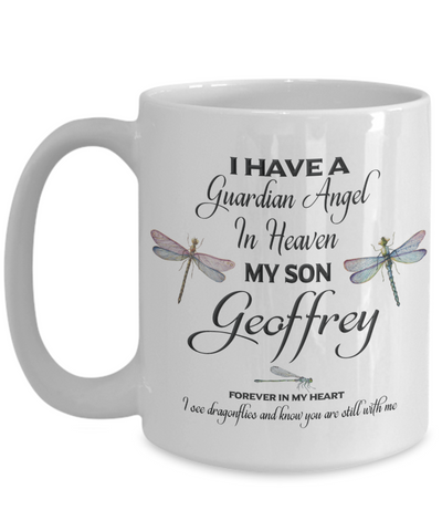 Guardian Angel Son Geoffrey Memorial Butterfly Mug Sympathy Remembrance Mourning Cup