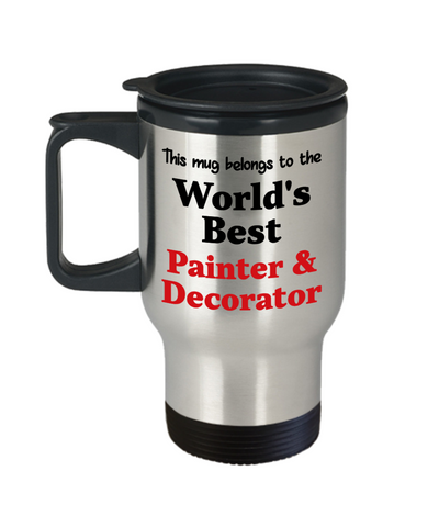 Image of World's Best Painter & Decorator Occupational Insulated Travel Mug With Lid Gift Novelty Birthday Thank You Appreciation Coffee Cup