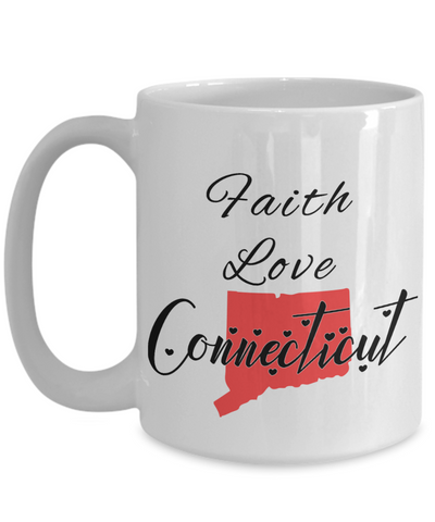Image of Patriotic USA Gift Mug Faith Love Connecticut Unique Novelty Birthday Christmas Ceramic Coffee Tea Cup