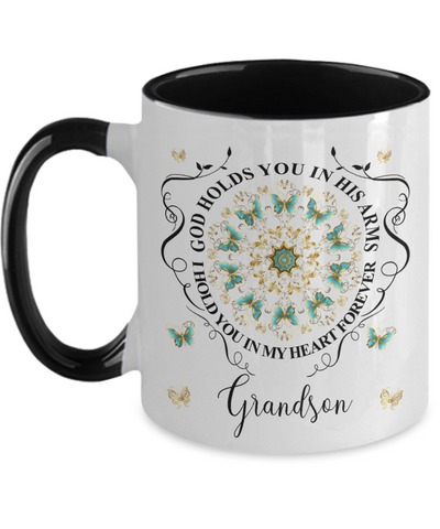 Grandson In Loving Memory Mug Memorial Turquoise Butterfly Mandala God Holds You in His Arms Mandala Two-Tone Cup