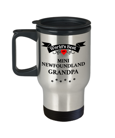 Image of World's Best Mini Newfoundland Grandpa Dog Travel Coffee Mug With Lid Gift for Men