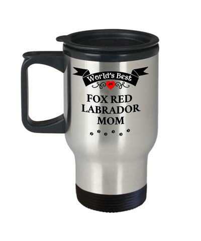 Image of World's Best Fox Red Labrador Mom Dog Cup Unique Travel Coffee Mug With Lid Gift