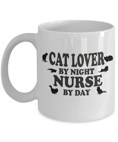 Image of Cat Lover By Night, Nurse By Day, Coffee Mug Gift for Nurses