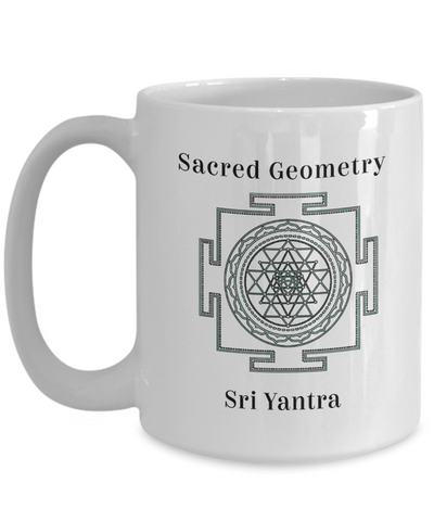 Image of Sacred Geometry Mug Gifts Sri Yantra Adaptation Attainment of spiritual and material wealth for inner connection to the Divine intelligence within Ceramic Coffee Cup