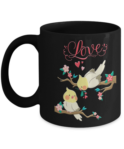 Lovebirds Black Mug Gift Love You Surprise Her on Valentine's Day Birthday Novelty Cup