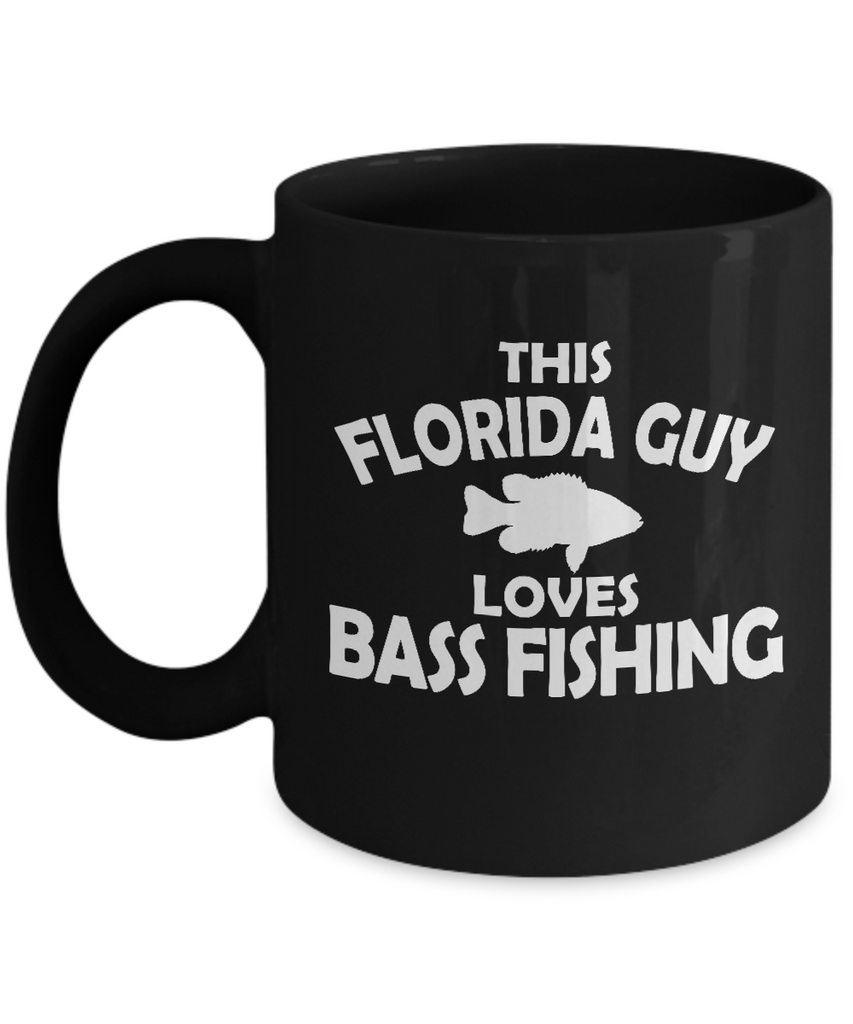 "Gift for Fisherman, ""This Florida Guy Loves Bass Fishing"" Novelty Coffee Mug for"