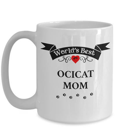 Image of World's Best Ocicat Mom Cup Unique Ceramic Cat Coffee Mug Gifts for Women