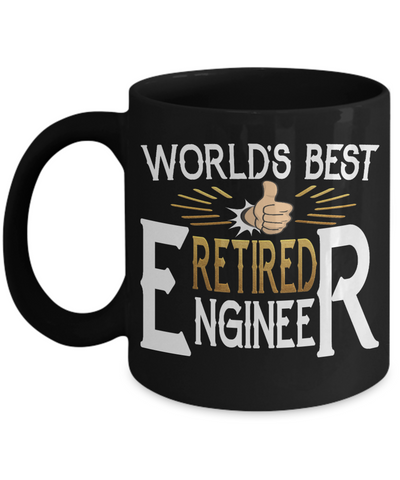 World's Best Retired Engineer Black Mug Gift Retirement Appreciation Occupation Cup
