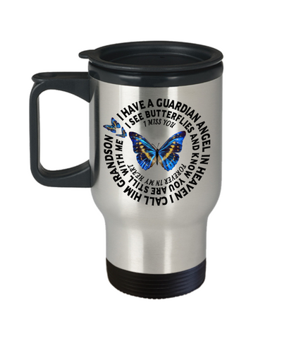 Grandson In Loving Memory Gift Butterfly Travel Mug With Lid I Have a Guardian Angel in Heaven In Remembrance Memorial Coffee Cup