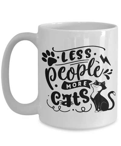 Less People More Cats Mug Cat Lover Ceramic Coffee Cup