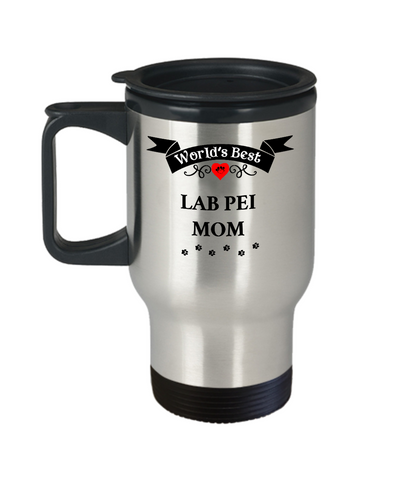 Image of World's Best Lab Pei Mom Dog Cup Unique Travel Coffee Mug With Lid Gift for Women