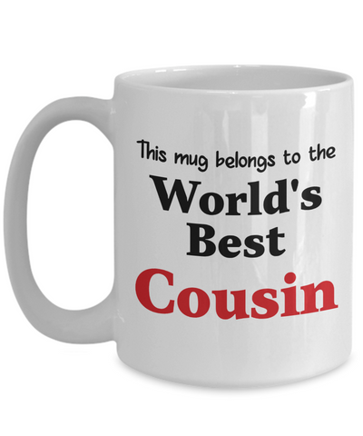 World's Best Cousin Mug Gift Novelty Birthday Thank You Appreciation Ceramic Coffee Cup