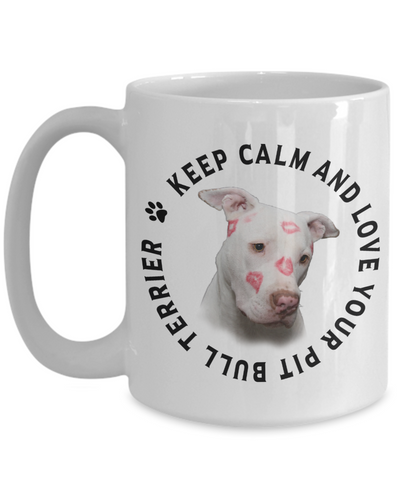Image of Keep Calm and Love Your Pit Bull Terrier Mug Gift for Dog Lovers White Pitbull Terrier