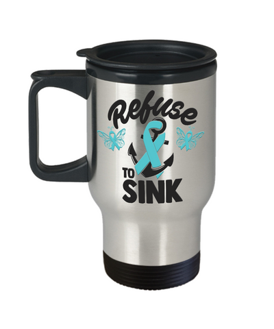 Refuse to Sink Fight Cancer Travel Mug Gift Awareness Support Cup