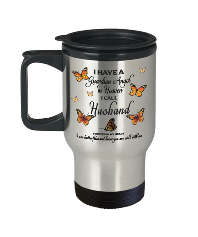 Husband In Loving Memory Travel Mug With Lid Guardian Angel in Heaven Monarch Butterfly Gift Memorial Coffee Cup