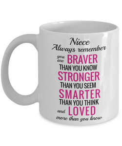 Niece Inspirational Gift Mug Always Remember You Are Braver Than You Know Unique Novelty Birthday Graduation Christmas Ceramic Coffee Cup