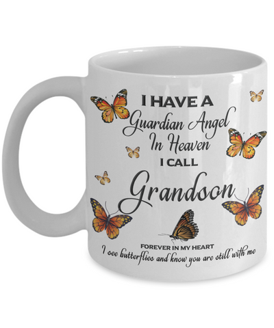 Grandson In Loving Memory Mug Guardian Angel in Heaven Monarch Butterfly Gift Memorial Ceramic Coffee Cup