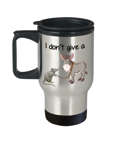 Image of Novelty Birthday Gifts Travel Mug for Men Women I Don't Give a Rat's Ass Funny Humor Quotes Unique Work Coffee Cup Dad Mom Grandpa