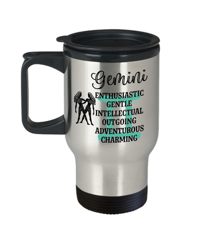Image of Gemini Zodiac Travel Mug Gift Fun Novelty Birthday Coffee Cup