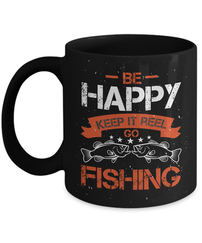 Be Happy Go Fishing Black Mug Gift For Fisher Addict Novelty Hobby Coffee Cup