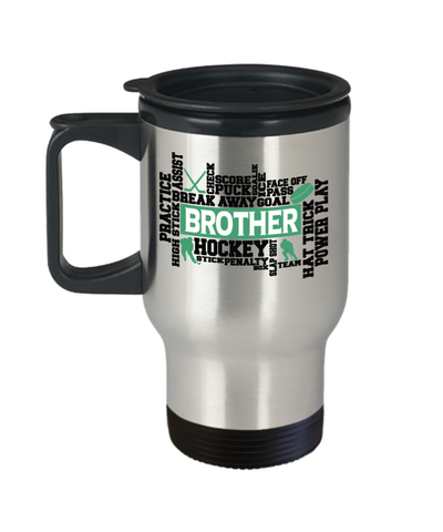 Hockey Brother Word Art Insulated Travel Cup With Lid Gift For Men Score Goal Puck Face Off Team Appreciation Novelty Birthday Coffee Cup