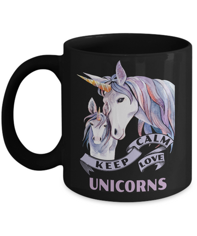Image of Keep Calm Love Unicorns Black Mug Gift Unicorn Mom and Baby Lover Novelty Birthday Cup