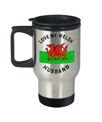 Love My Welsh Husband Travel Mug With Lid Novelty Birthday Gift Coffee Cup