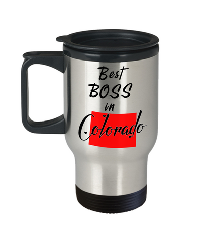Image of Best Boss in Colorado State Travel Mug With Lid Novelty Birthday Christmas Gifts for Employer Day