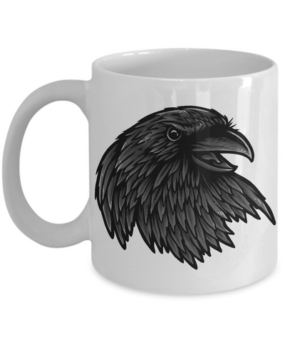 Image of Fun Gift For Raven Lovers,  Raven Mug Available in Black or White, Fun Novelty Coffee Cup