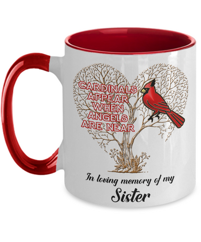 Image of Sister Cardinal Memorial Coffee Mug Angels Appear Keepsake Two-Tone Cup