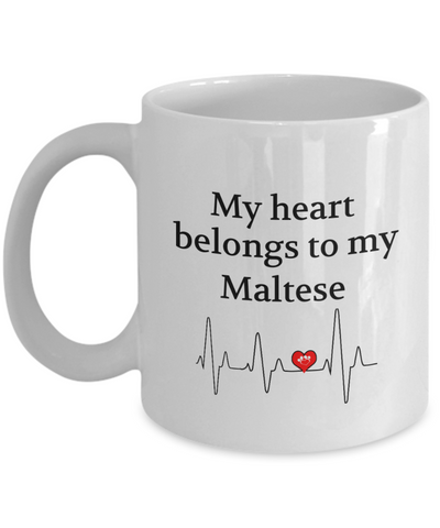 My Heart Belongs to My Maltese Mug Animal Lover Novelty Birthday Gifts Unique Work Ceramic Coffee Gifts for Men Women
